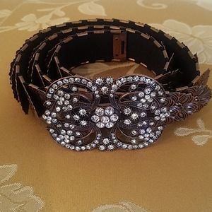 Stunning copper layered belt crystal buckle.